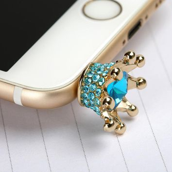 Mobile phone Earphone 3.5mm AUX Jack Dust Plug imperial crown 3.5 diamond enchufe del polvo for apple Iphone 4 5 6 PC latop cork