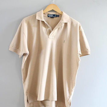 Ralph Lauren Polo Shirt Beige Cotton Knit Classic Polo Button Up Short Sleeve Tee Minimalist Vintage 90s Size M #T182A