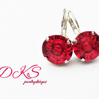 Red Vision, Swarovski 12mm Lever Back Earrings, Flower, Light Red, Round, Silver, Bridal, DKSJewelrydesigns, FREE SHIPPING