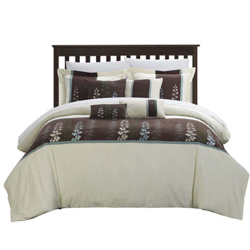 Evasco Evan Florals 12 Piece Comforter Set Bed In A Bag King & Queen Beige