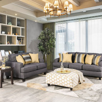 Furniture of america SM8600 2 pc Orson gray flat woven fabric sofa and love seat set