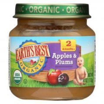 Organic Apples and Plums Baby Food - Stage 2 - Case of 12 - 4 oz.