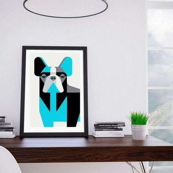 Print-at-Home Dog Wall Art French Bulldog, Blue