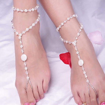 Bridal Barefoot S als Foot Jewelry Imitation Pearl Multi-Layer Anklet Chain Barefoot S al Bridal Beach Ankle Bracelet SM6