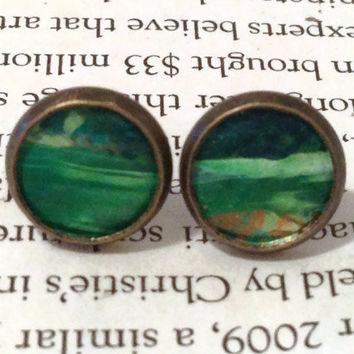 Green and White Leather Stud Earrings, Leather Earrings, St Patrick's day, Irish