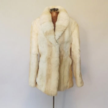 Vintage Rabbit Fur Coat 1970s 1980s Imperial Fur Coat White Rabbit Fur Jacket Glam Outerwear Winter Jacket Size Medium High Fashion Coat