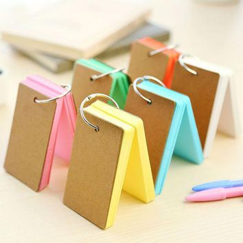 ICIK272 Korean Creative Candy Color Buckle Binder Notes Portable Flash Cards Memo Pads Cute Stationery DIY Blank Card