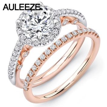 U-Pave Moissanites Wedding Sets Fine Jewelry 14K Two Tone Gold Rings Unique Lab Grown Diamond Ring Art Deco Weddings Ring Set