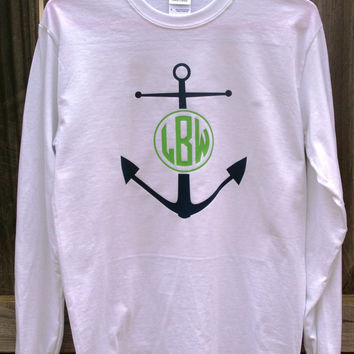 Long Sleeve Monogram Anchor T-Shirt Womens Vinyl
