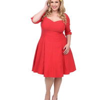 Unique Vintage Plus Size Red Three-Quarter Sleeve Grace Swing Dress