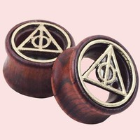 2pcs Wood Plugs and Tunnels Piercing Ear Gauges Expander Geometric Natural Wooden Ear Plugs Tunnels For Women Men Body Jewelry