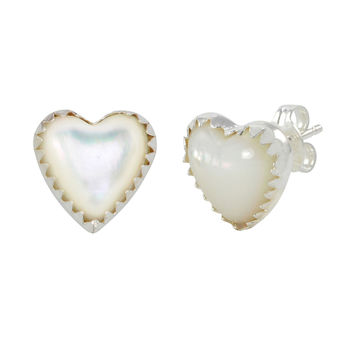 Sterling Silver Mother of Pearl Gemstone Earrings Heart-Shaped Studs 11mm
