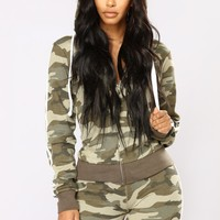 Camo Inside With Me Jacket - Olive