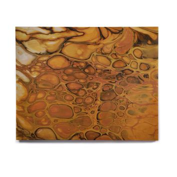 "Carol Schiff ""Spots Before My Eyes"" Gold Black Abstract Contemporary Painting Mixed Media Birchwood Wall Art"