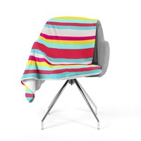 "Nika Martinez ""Girly Surf Stripes"" Fleece Throw Blanket"