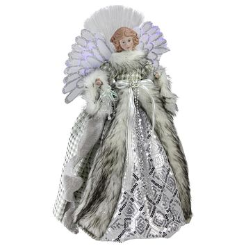 "16"" Lighted Fiber Optic Angel in Silver Gingham Coat Christmas Tree Topper"