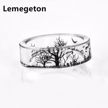 Lemegeton Transparent Bat Tombstones and Trees Resin Black-and-White Ring Mori Small Fresh DIY Handmade Flower Glue Finger Ring