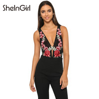 SheInGirl 2016 Women Sexy Tank Top Black Rose Embroidery Plunge Neck Mesh Vest Sleeveless Slim Skinny Casual Sheer Floral Tops