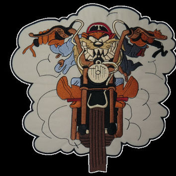 Taz Devil Outlaw Biker Rider Embroidered Big Back Vest Patch 9.5""
