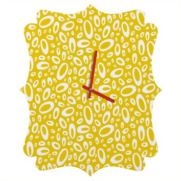 Heather Dutton Molecular Yellow Quatrefoil Clock
