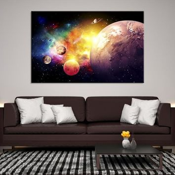88524 - Planet Earth Moon Wall Art, Space Wall Art, Earth n Moon Art, Planet Earth Canvas, Space Canvas Art, Earth Moon and Stars, Moon Poster, Galaxy Art