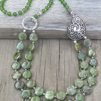 Natural Green Rainforest Jasper Green Jade Necklace 25'', Boho Style Natural Gemstone Jewelry, Multilayered Stone Necklace
