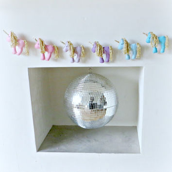 UNICORN Garland with gold - pink, purple, blue, pastels