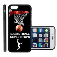 RCGrafix Brand Basketball Never Stops Apple Iphone 6 Plus Protective Cell Phone Case Cover - Fits Apple Iphone 6 Plus