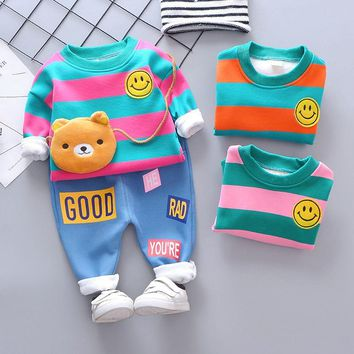 HYLKIDHUOSE Baby Girl Boy Clothing Sets Spring Autumn Infant Clothes Suits Plush Stripe Smiley Face Tops Pants Child Costume