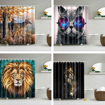 Animals printed lion, tiger, cat 3d bath curtains waterproof polyester fabric washable bathroom shower curtain screen with hooks