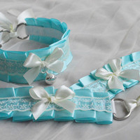 Kitten play collar and cuffs - Lovely princess - ddlg cgl cute neko sweet kawaii lolita petplay costume - pastel blue and ivory choker set