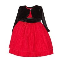 Toddler GIRL Size 3T - BLUEBERI Boulevard TIERED Dress & Cardigan Set w/SASH/RED & BLACK Crinkle Design/Special Occasion/PARTY/HOLIDAY/PAGEANT/New/PRETTY