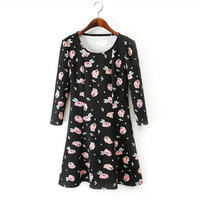 Winter Half-sleeve Casual Vintage Round-neck Skirt One Piece Dress [4917816900]
