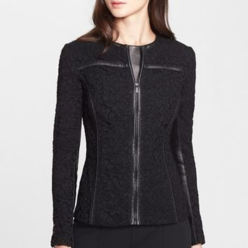 Women's St. John Collection Plume Lace Jacket with Leather Trim