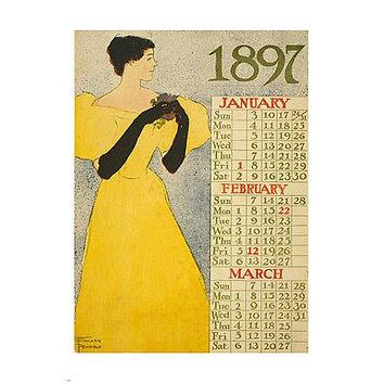 ARTIST edward penfield CALENDAR poster 1897 jan-march ELEGANT lady 24X36