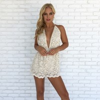 Barefoot Bliss Lace Romper in Cream