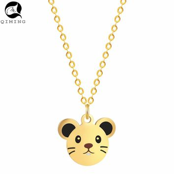 QIMING Lovely Cute Mickey Necklace Pure Baby Mouse Jewelry for Women Necklace Pendant Girls Kids Gift Birthday Collier