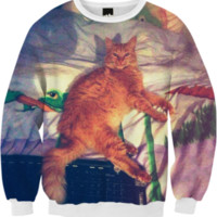 Ultimate Funny Cat Retro / FALL SWEATSHIRT created by badbugs_art | Print All Over Me