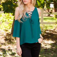 Gia Lace Up Top in Teal