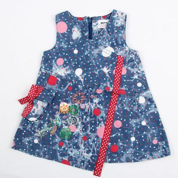 2015 high quality summer clothes sleeveless cowboy color with pocket and dots girl dress fashion style nova kids wear clothes