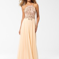 PARTY PERFECT DRESSES | Peach Beaded Keyhole Chiffon Gown | Caché