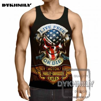 3d Golden Wings Pirate Skull Locomotive Style Brand Fashion Hip Hop Mens Tank Top