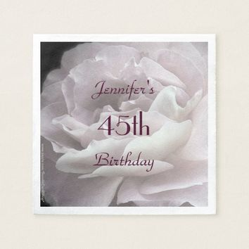 Pale Pink Rose Paper Napkins, 45th Birthday Party Paper Napkin