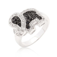 Black And White Cubic Zirconia Elephant Ring, size : 08