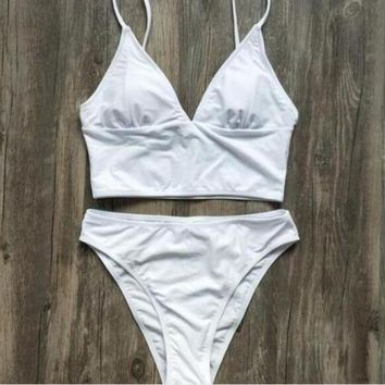 Kalete Sexy Ladies V Collar Low Cheat High Waist Pure Color Two Piece Bikini Swimsuit Swimwear White