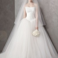 Ball Gown with Chantilly Lace Appliques at Bodice - David's Bridal - mobile