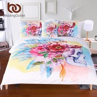 BeddingOutlet Colorful Skull and Floral Duvet Cover Set 4 Pieces Super Soft Bedclothes Flowers Printed Bedding Set Luxury