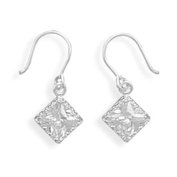 Crown Edge Cubic Zirconia on French Wire Earrings