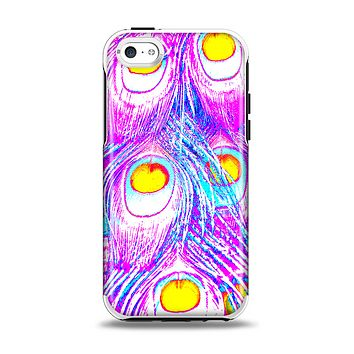 The Neon Pink & Turquoise Peacock Feather Apple iPhone 5c Otterbox Symmetry Case Skin Set