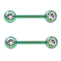 Pair of 2 Green Titanium Plated Steel Double Clear CZ Nipple Piercing Barbells - 14G 9/16""